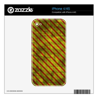 Distressed Christmas Stripes iPhone 4 Decals