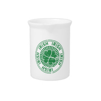 distressed clover irish stamp seal beverage pitcher