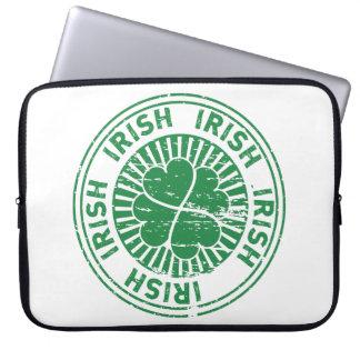 distressed clover irish stamp seal laptop sleeve
