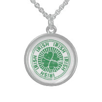 distressed clover irish stamp seal sterling silver necklace