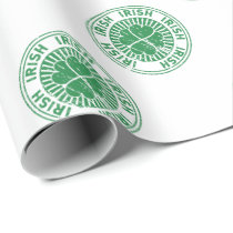 distressed clover irish stamp seal wrapping paper