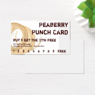 Distressed Coffee Stain Drink Punchcard Business Card