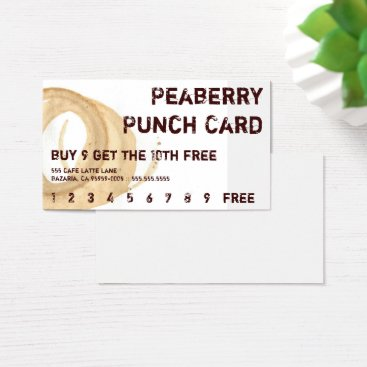 coffeepunch Distressed Coffee Stain Drink Punchcard Business Card