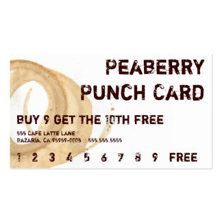 Distressed Coffee Stain Drink Punchcard Double-Sided Standard Business Cards (Pack Of 100)