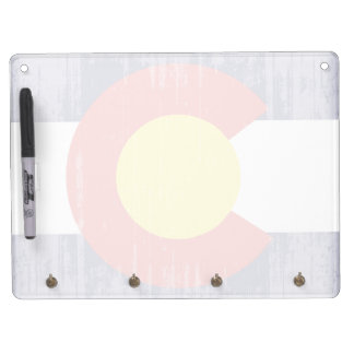DISTRESSED COLORADO FLAG .png Dry Erase Board With Keychain Holder