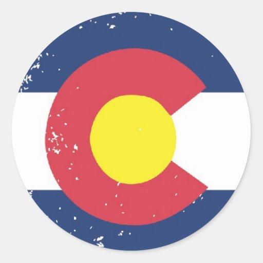 Distressed Colorado Flag Round Sticker