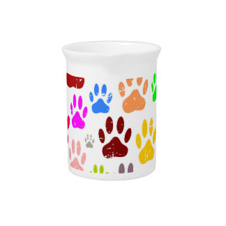Distressed Colorful Dow Paw Prints Pitcher