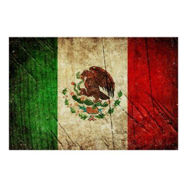 Aztec Themed Distressed Country Flags | Mexico Poster