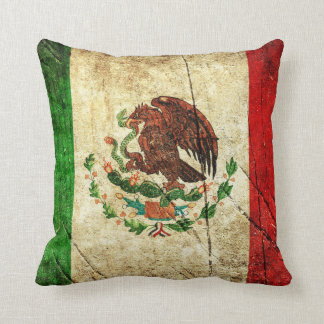 Distressed Country Flags   Mexico Throw Pillow