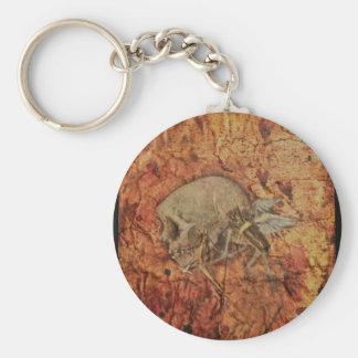 Distressed Cupid Skeleton Basic Round Button Keychain