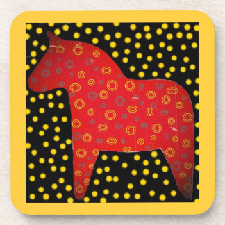 Distressed Dala Horse Drink Coaster
