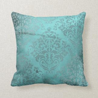 Distressed Damask Aqua Pillow