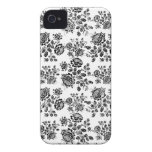 Distressed damask floral rose branch silhouette 4S iPhone 4 Case-Mate Case