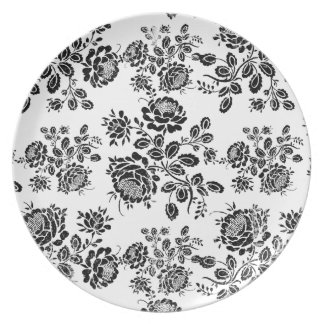 Distressed damask floral rose branch silhouette melamine plate