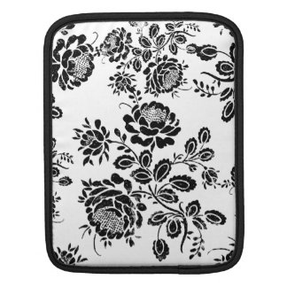 Distressed damask floral rose branch silhouette sleeve for iPads