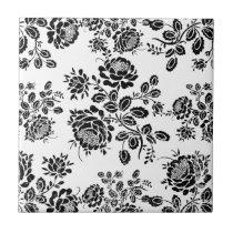 Distressed damask floral roses flowers pattern hot ceramic tile