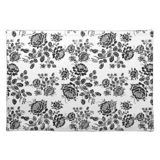 Distressed damask floral roses flowers pattern hot placemat