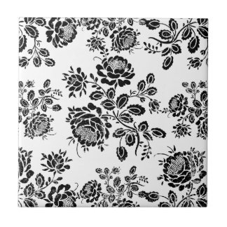 Distressed damask floral roses flowers pattern hot small square tile