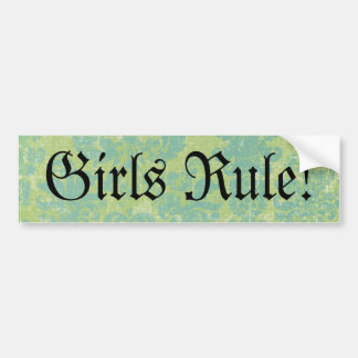 Distressed Damask Girls Rule! Car Bumper Sticker