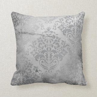 Distressed Damask Gray Throw Pillows