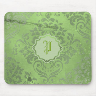 Distressed Damask Green Mousepads
