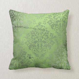 Distressed Damask Green Throw Pillows