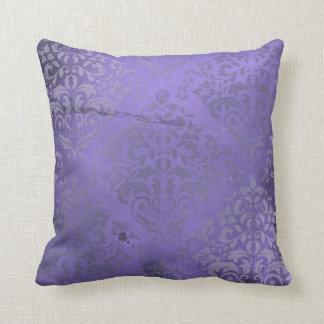 Distressed Damask Purple Throw Pillow