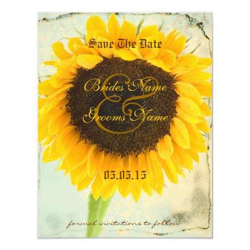 Distressed Damask Sunflower Wedding Save the Date 4.25x5.5 Paper Invitation Card