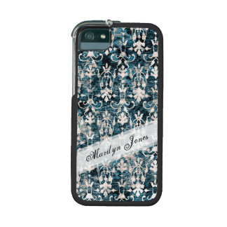 Distressed Denim Damask iPhone 5/5S Covers