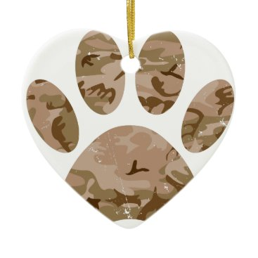 Distressed Desert Camo Dog Paw Print Ceramic Ornament