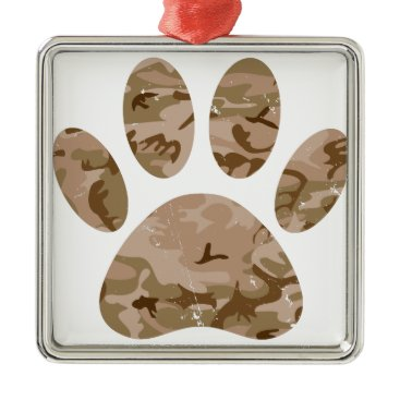 Distressed Desert Camo Dog Paw Print Metal Ornament