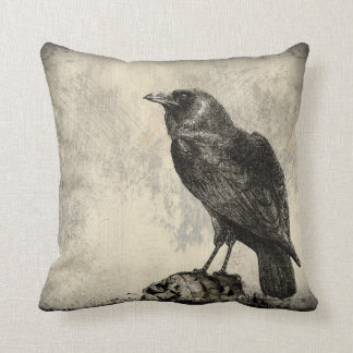 Distressed Design Large Black Raven Bird by CM Throw Pillow