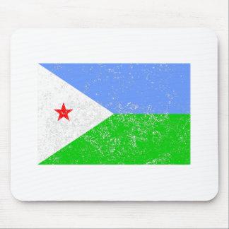 Distressed Djibouti Flag Mousepads