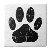 Distressed Dog Pawprint Ceramic Tile