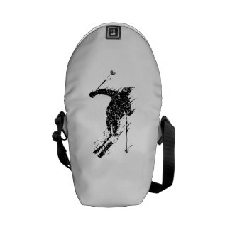 Distressed Downhill Skier Courier Bags
