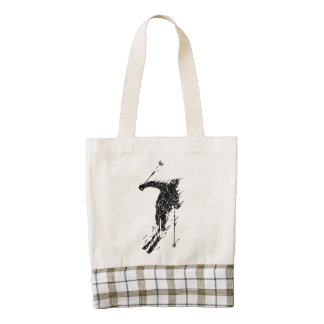 Distressed Downhill Skier Zazzle HEART Tote Bag