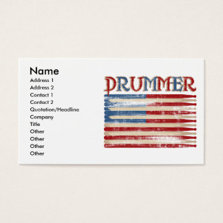 Distressed Drum Stick USA Flag Drummer Tees Gifts Business Card