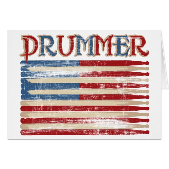 Distressed Drum Stick USA Flag Drummer Tees Gifts Card