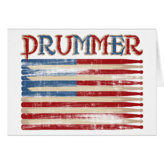 Distressed Drum Stick USA Flag Drummer Tees Gifts Greeting Card