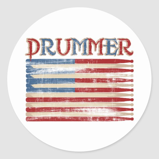 Distressed Drum Stick USA Flag Drummer Tees Gifts Classic Round Sticker