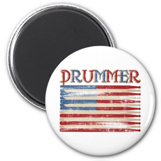 Distressed Drum Stick USA Flag Drummer Tees Gifts Magnet