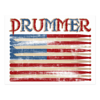 Distressed Drum Stick USA Flag Drummer Tees Gifts Postcard