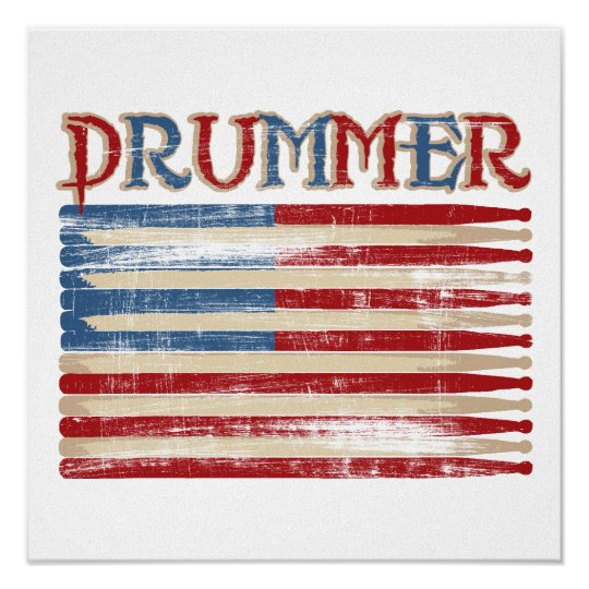 Distressed Drum Stick USA Flag Drummer Tees Gifts Poster
