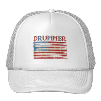 Distressed Drum Stick USA Flag Drummer Tees Gifts Trucker Hat