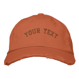 Distressed Embroidered  Cap Burnt Orange Embroidered Hats