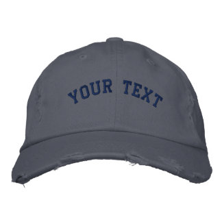 Distressed Embroidered  Cap Scotland Blue Embroidered Baseball Cap