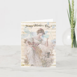 Distressed Fantasy Woman Gathering Flowers Grain Holiday Card