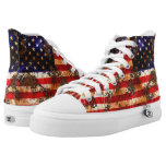 Distressed Flag High-Top Sneakers