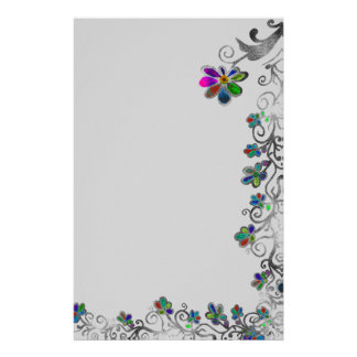 Distressed Floral Border Stationery