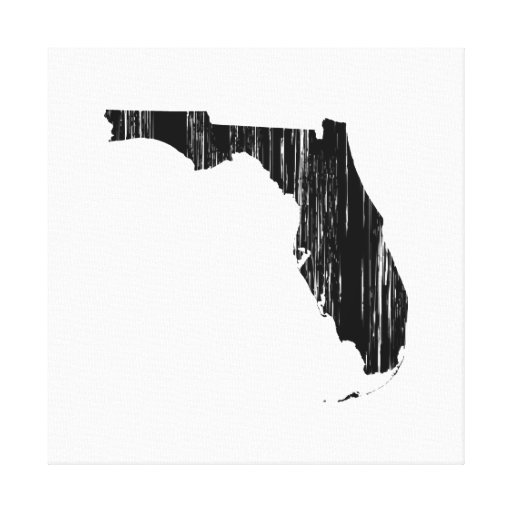 Distressed Florida State Outline Stretched Canvas Print